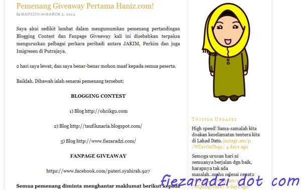 """""""giveaway haniz"""""""